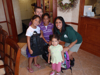 Three backpacks from Dunedin FL Dentist Dr. Pitts find a home